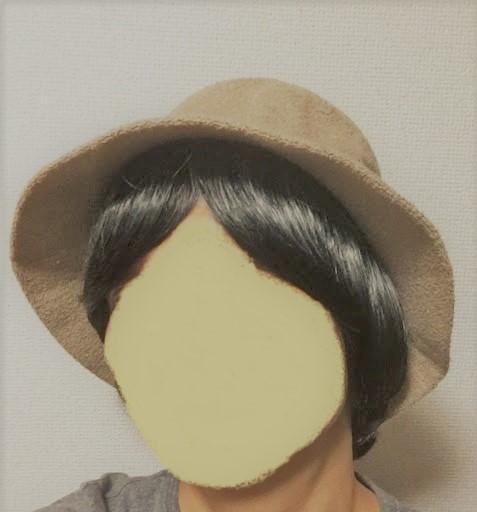 髪付き帽子帽子着用